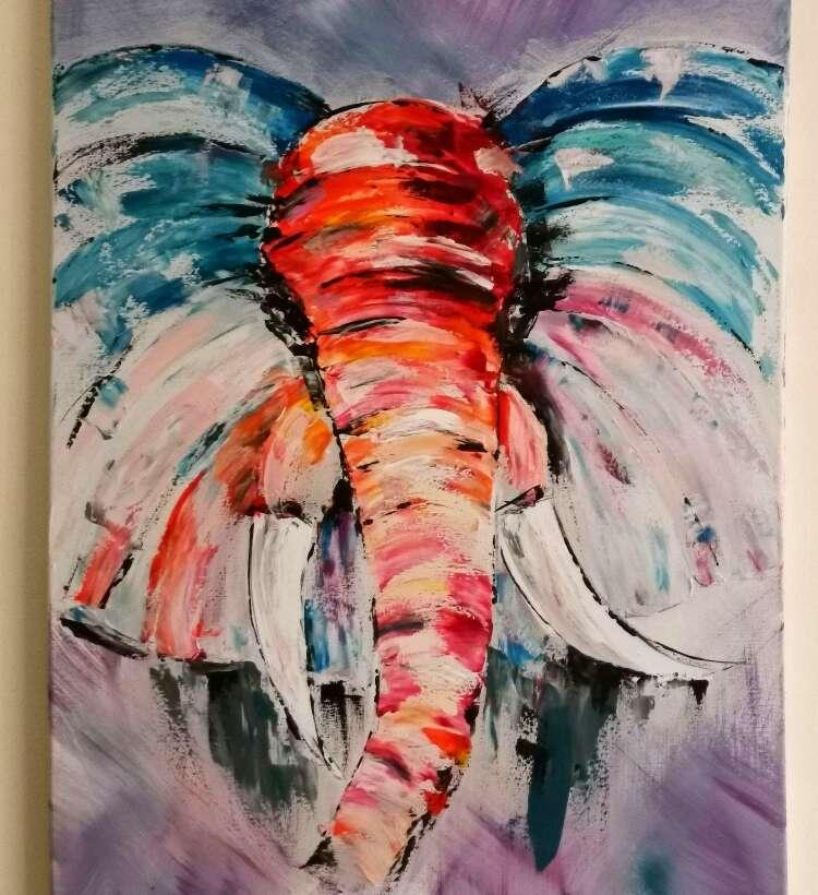 Слон — картина акрилом