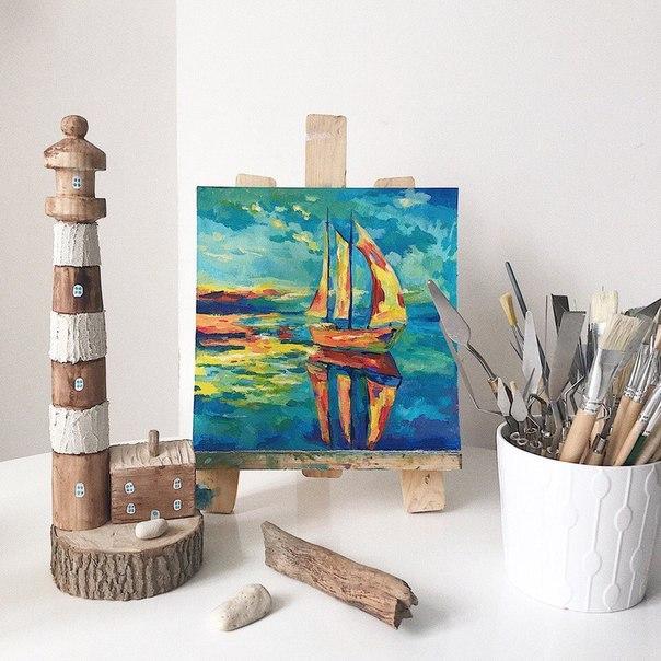 Кораблик — картина акрилом