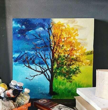 Необычное дерево — картина акрилом