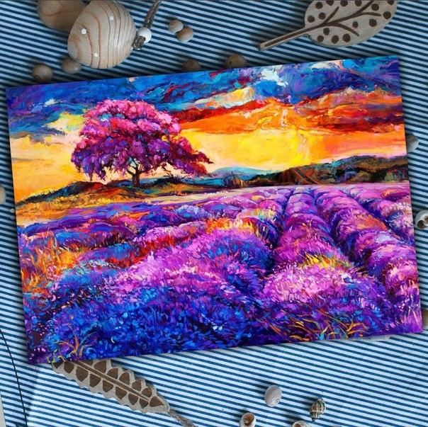 Поле цветов — картина акрилом